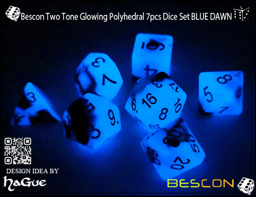 Bescon Two Tone Glowing Polyhedral 7pcs Dice Set BLUE DAWN-7