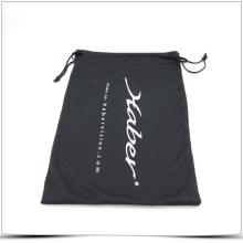 Bolsa de regalo de microfibra negra y suave con impresión offset