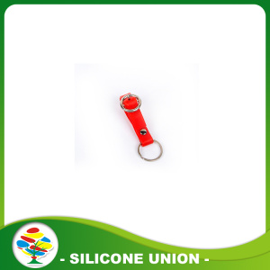 New Design Custom Red Silicone Keychain