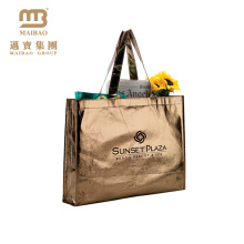 Premium Quality Wholesale Custom Logo Printing Gold Metallic Polypropylene Non Woven Beach Tote Bag