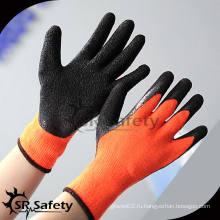 SRSAFETY 7G Оранжевый Терри вязать перчатки из хлопка с перламутровым латексным покрытием