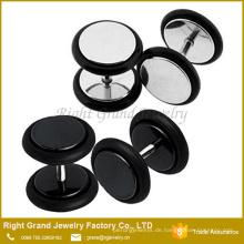 Kundengebundener Stahlschwarz überzogener Silikon-O-Ring chirurgischer rostfreier Ohr-Bolzen-gefälschter Stecker