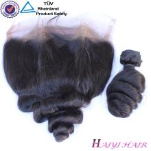 Cabelo humano original cabelo remy indiano 360 lace frontal onda solta