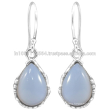 925 Sterling Silver & Natural Chalcedony Gemstone Drop Earrings at Best Price