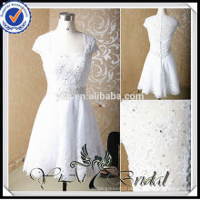 RSW168 Cap Sleeve Sheer Lace Voltar Sexy Mini White Vestido de casamento curto
