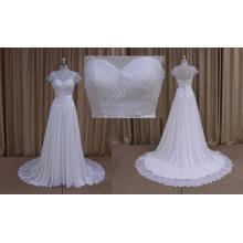Wholesale Cap manches en mousseline de soie robe de mariée 2016