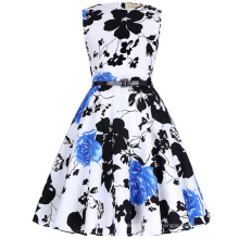 Kate Kasin Girls Sleeveless Round Neck Vintage Retro Cotton Floral Pattern Children Summer Dress KK000250-10