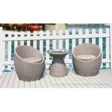Outdoor Patio Wicker Freizeit Stuhl Tulpen Bistro Grau Tisch für Hotel Restaurant Cafe Shop Balkon Terrasse Deck Veranda