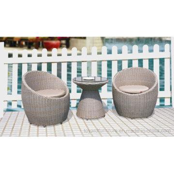 Outdoor Patio Wicker Leisure Chair Tulipes Bistro Grey Table pour Hôtel Restaurant Café Boutique Balcon Terrasse Terrasse Porche