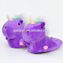 Hot selling unicorn design plush soft animal slippers