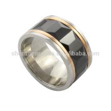 Vente en gros 2014 haute polonaise nouvelle mode bon marché en acier inoxydable de haute qualité anneau en céramique noire de fabricant de bijoux