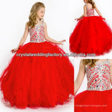 2014 sequined beaded ruffled skirt red ball gown long girls pageant dresses CWFaf5766