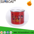 Porcelain Enamel Carbon Steel Mug with Stainless Steel Rolling Rim
