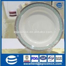 China precio de la fábrica casa nueva hueso china placa de sopa con la frontera de plata, placa de sopa profunda