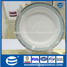 china factory price household new bone china soup plate with silver border, deep soup plate