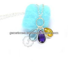 925 Sterling Silver Multi Gemstone Necklace Wholesale Handmade Bezel Jewelry Necklace Suppliers