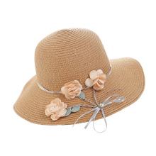 Korean Sunhat Straw Hat Female Summer Sunscreen Basin Cap Diamond-studded Large Brim Foldable Beach Flowers Raffia Straw 55-58cm