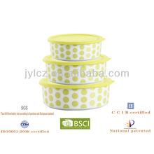 Almacenamiento redondo nuevo 2013 de la comida con la tapa del silicón, sistema de 3, diseño redondo verde del punto