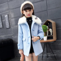 winter 2016 coats girls long coats for Christmas eve party dresses kids wholesale fur coats double-breasted jackets