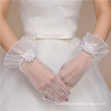 Lace appliques wrist length fishnet high quality bridal wedding lace gloves