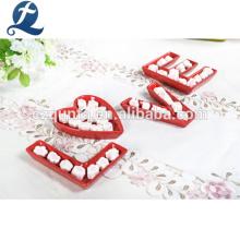 Set de vajilla de cerámica roja apta para microondas Set de platos de decoración romántica de amor
