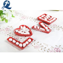 Microwave Safe Red Ceramic Dinnerware Set Romantic Love Decoration Dishes Set
