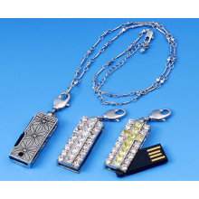 Silver White Metal & Crystal Necklace Jewelry Usb Flash Drives Memory Disk 1gb, 2gb