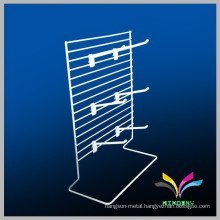 customized white floor standing wire display rack for toothbrush with hooks