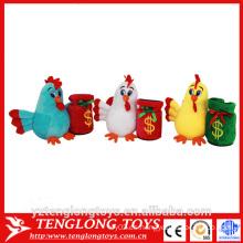 Fábrica de felpa de juguete de peluche de pollo barato, juguete de pollo relleno con el cubo de dinero