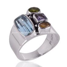 Blue Topaz Peridot Amethyst & Citrine Stone Sterling Silver Bezel set Ring