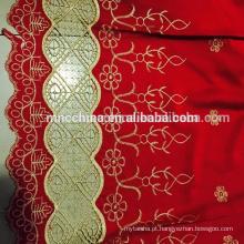 Tecido de seda bordada com rendas e bordados