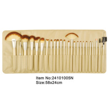 24pcs golden plastic handle animal/nylon hair makeup brush tool set with ivory satin case
