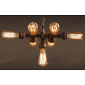 Antique Metal Pipe Lamp With Edison Bulbs
