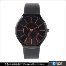 Movimiento de Japón cuero genuino impermeable redondo hombre negro reloj de cuarzo, 2015 nuevo reloj de llegada