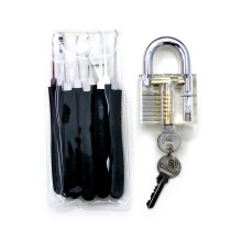 Transparent Practice Padlock with Black 9PCS Lockpicking Tools (Combo 2)