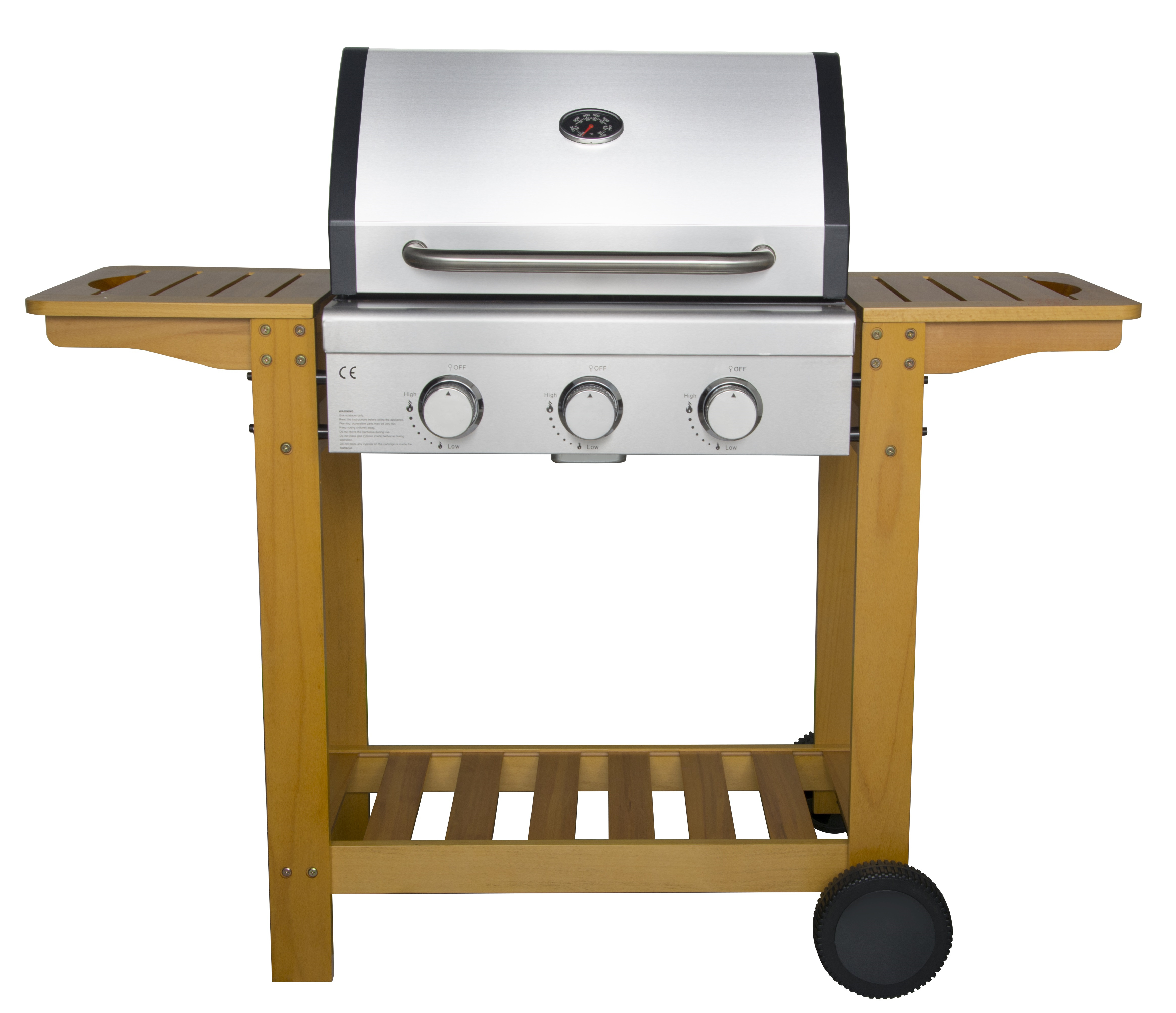 3 Burner Wooden Trolley BBQ Grill