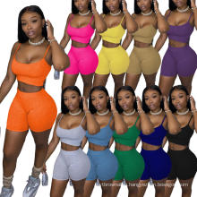 H85 2020 Summer Two Piece Set Snack Shorts Jogger Outfits Women Clothing 2 Piece Biker Short Set Women