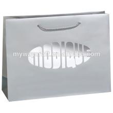 Venda por atacado eco-friendly personalizado saco de compras de papel de logotipo com folha de carimbo quente de alta qualidade para o pano