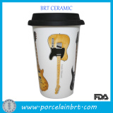 Double-walled Thermo Guitar side on Travel Mug with Silicone Lid