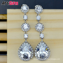 White Gold Plating Zircon Water Drop Pendant Earrings For Bridal Jewelry