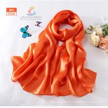 LINGSHANG verão colorido senhoras cachecol de seda cor sólida macio cachecóis longos pashmina xale atacado