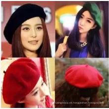 Mujeres Beret Cap de artista, estilo francés Otoño e Invierno Vintage colores sólidos Felt lana Beanie Hat, señoras moda boinas clásicas