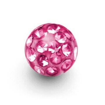 Bola de reposição de cristal rosado de 5 mm rosqueada Ferido