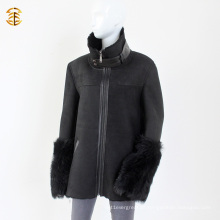 Black Double Face Sheepskin Lamb Shearling Winter Men ou Mulheres Casaco de pele