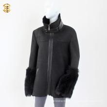 Black Double Face Sheepskin Lamb Shearling Winter Men ou Mulheres Casaco de pele
