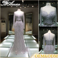 China women prom dress formal evening gowns women dresses evening silver color evening dress