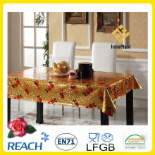 Housse de table en vinyle avec revêtement en or