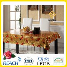 Tampa de mesa de plástico vinil com sobreposição dourada