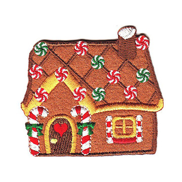 Jul Festlig Gingerbread House Broderi Emblem