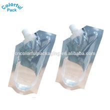 2016 spezielle form kunststoff trinken tasche für saft benutzerdefinierte auslaufbeutel 8 unze / 12 unze / 16 unze aufstehen beutel mit auslauf